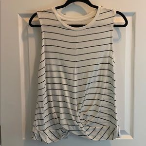 A New Day twist front black and white stripe tank